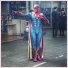 Superhero comes to Waverley Station, Edinburgh