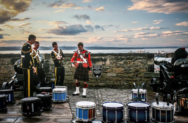 Tattoo performers pre-show on Edinburgh Castle ramparts