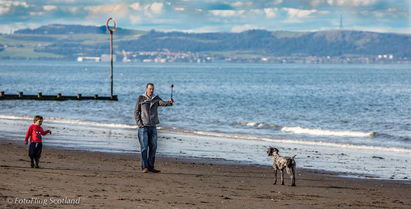 Man and Dog on Portobello Beach