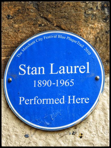 Plaque:  Stan Laurel at the Britannia Music Hall