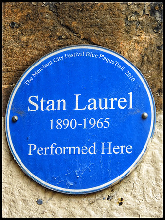Plaque:  Stan Laurel at the Britannia Music Hall