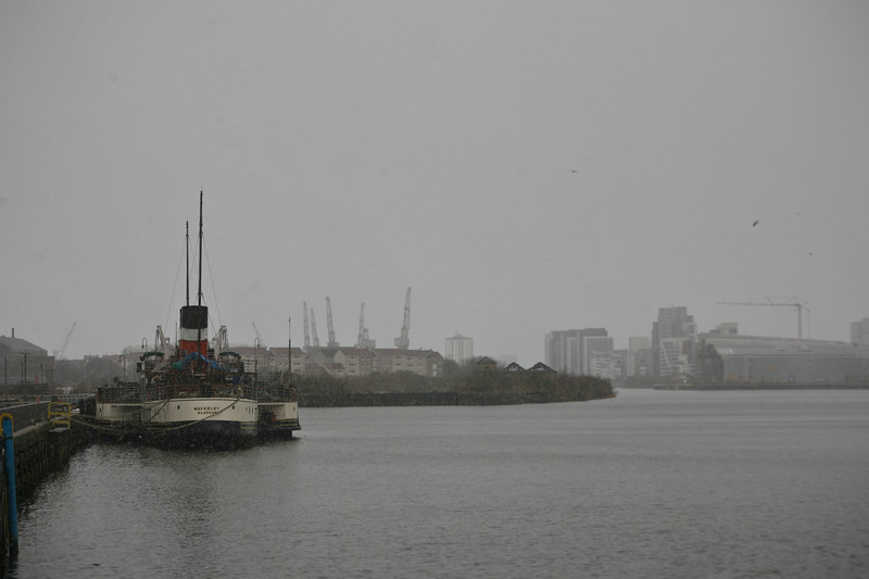 Snow storm on River Clyde Waverley Steamer moored at Pacific Quay  on the River Clyde, Glasgow