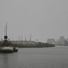 Snow storm on River Clyde<br /> Waverley Steamer moored at Pacific Quay  on the River Clyde, Glasgow