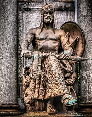 Detail: Equestrian statue of Frederick Roberts in Kelvingrove Park, Glasgow