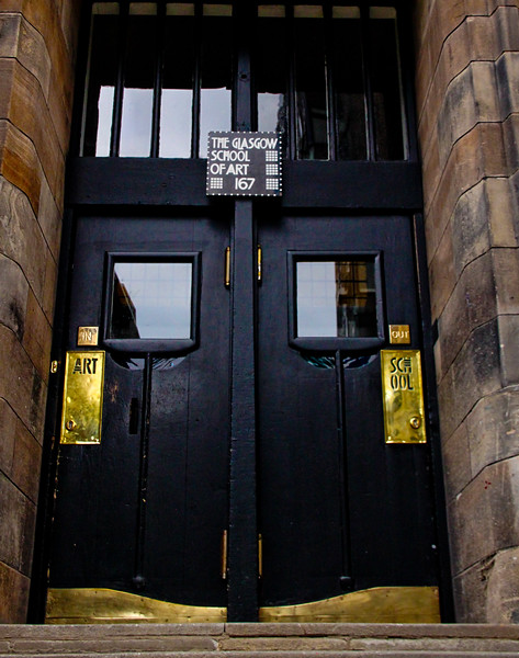 Glasgow School of Art - Renfrew Street Entrance <br /> Charles Rennie Mackintosh won a competition to design the Glasgow School of Art, his first commission and most important building. Sited at the edge of a steeply sloping south facing hill, the building, an art school, stretches along an entire block, facing a major street to the north    - the first half of the building was completed in 1899 and the second in 1909.