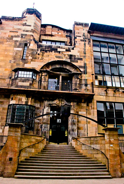 Glasgow School of Art<br /> Charles Rennie Mackintosh won a competition to design the Glasgow School of Art, his first commission and most important building. Sited at the edge of a steeply sloping south facing hill, the building, an art school, stretches along an entire block, facing a major street to the north    - the first half of the building was completed in 1899 and the second in 1909.