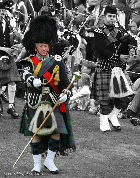 Drum Major Leads Isle of Skye Pipeband at Portree Highland Games 2008