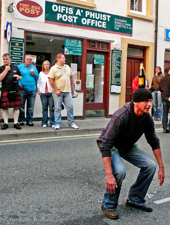 Beer Bottle Balancing Act Portree on Games Day
