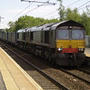 66422 and 66425 double head 4S43 Daventry - Mossend through Holytown on 20th June 2013