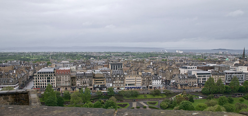 Edinburgh city with Prinsess street in the front, seen from the castle