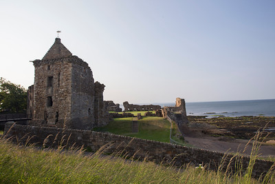 Ruins of St. Andrew's Castle.  Built c. 1200 AD. Overlooking Castle Sands and the North Seas.  Royal Burgh of St. Andrews, Fife Council, Scotland.