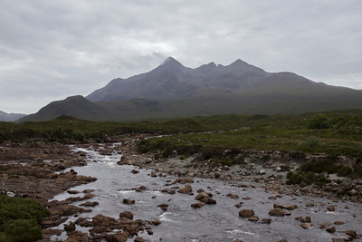 Sgurr nan Gillean (elevation: 3162') of the northern section of the Cuillin range.  Near the town of Sligachan, Isle of Skye, Highland Council, Inner Hebrides, Scotland.