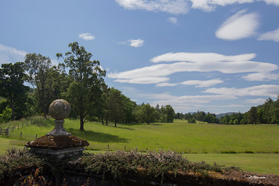 Balmoral Castle.  View from the castle's west side garden. Royal Deesside, Aberdeenshire, Scotland.