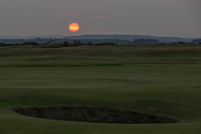Sunset - Hole 17 - at the Old Course at St. Andrews Links.  Royal Burgh of St. Andrews, Fife Council, Scotland.