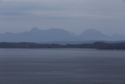 South Rona, an island in the Scottish Inner Hebrides.  Viewed from the Isle of Skye across the Sound of Raasay. North of the town of Portee, Isle of Skye, Highland Council, Scotland.