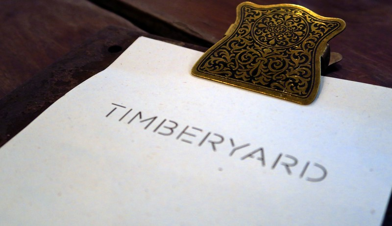 Timberyard clipboard menu for lunch in Edinburgh, Scotland