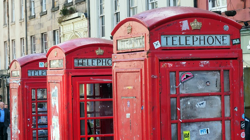 A series of three old phone booths in Edinburgh, Scotland