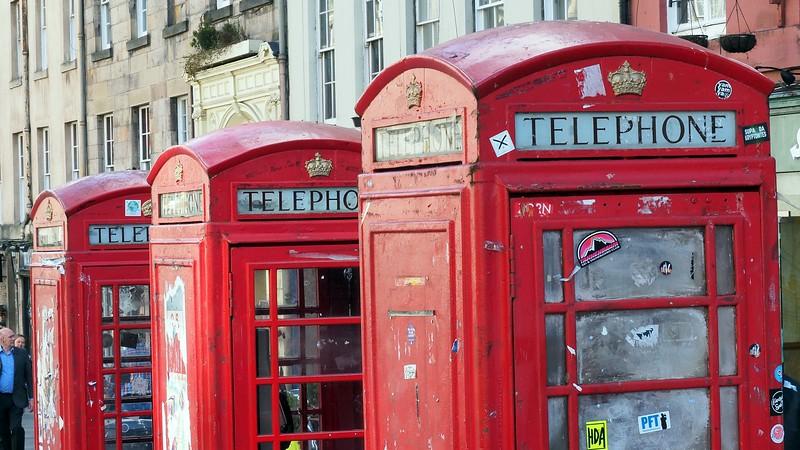 A series of three old phone booths in Edinburgh, Scotland