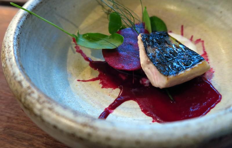 Beetroot fish salad dish in Edinburgh, Scotland