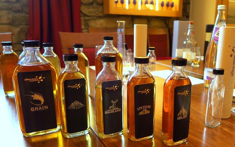 Blending whiskies at the Scotch Whisky Experience: Grain, Lowland, Highland, Speyside, and Islay.