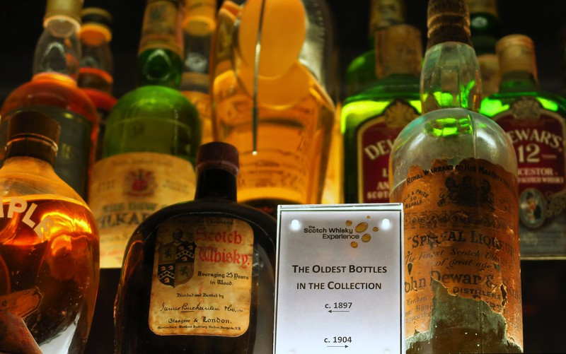 The oldest bottles of whisky at the Scotch Whisky Experience in Edinburgh