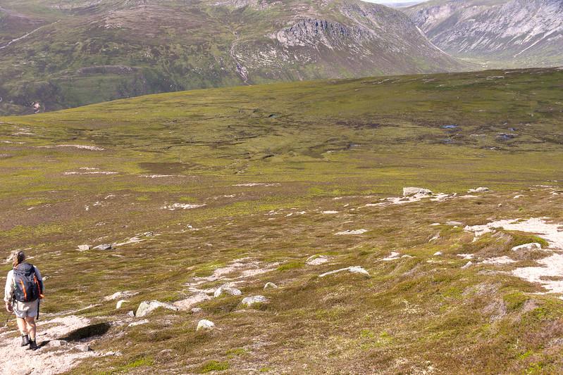 Now a long route down through very boggy terrain