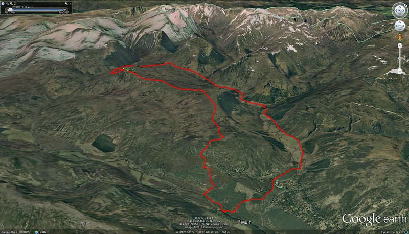 We started near where it says Muir and went up left side of loop - very steep until the high ridge