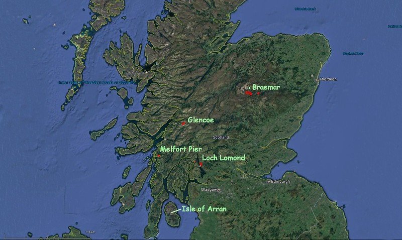 Our travels around Scotland (light green text)