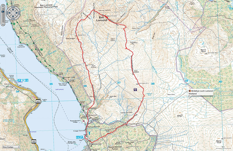 Topo map with our actual  route up Ben Lomond