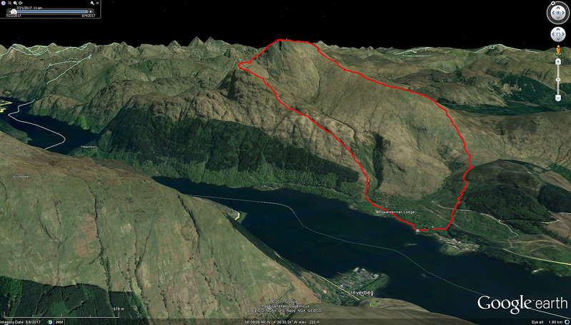 Our actual route up Ben Lomond.  We stayed at Inverbeg on Loch Lomond.