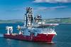 An offshore oil service ship in Cromarty Firth near Invergordon, Scotland, United Kingdom, Europe.