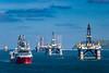 Offshore oil drilling platforms anchored in Cromarty Firth near Invergordon, Scotland, United Kingdom, Europe.