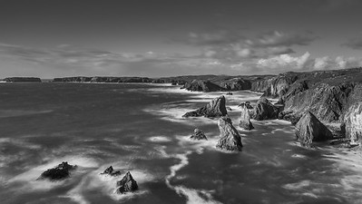 Mangersta Sea Stacks at sunset - Black & White