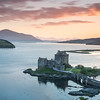 Castle Eilean Donan at Sunset - ridges of Skye in the distance