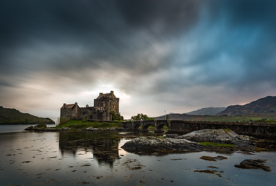 sunset and storm clearing over Eilean Donan Castle