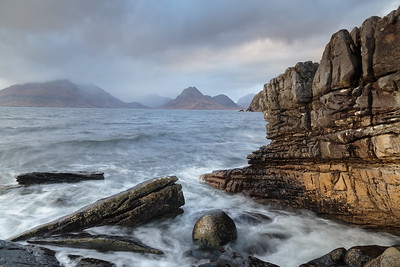 Sunset lights up the Elgol foreshore.