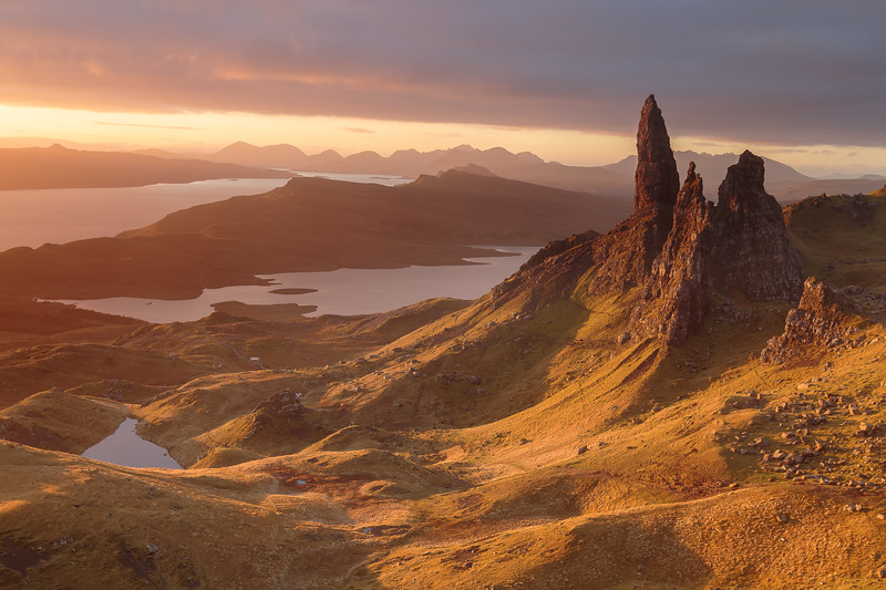 Sunrise lighting up the Old Man of Storr, Skye.