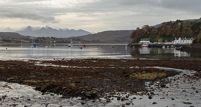 Portree harbour across to the Cuillin mountains