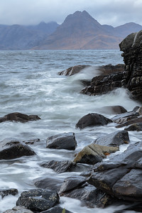 Elgol rocks at high tide.
