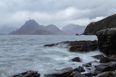 Elgol shoreline across to the Cuillin mountains.