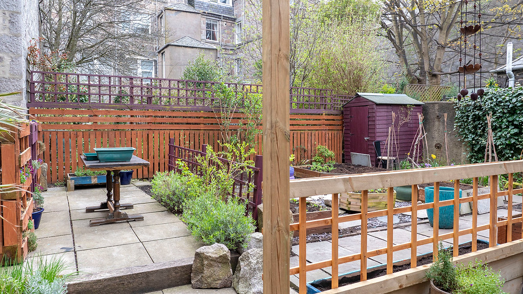 Outdoor garden and patio at Bonobo Cafe in Aberdeen Scotland - Vegan restaurants in Aberdeen