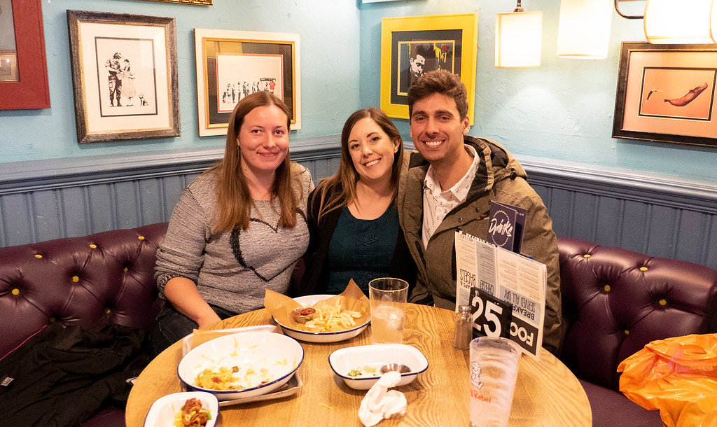 Three travel blogger friends at Triplekirks pub in Aberdeen Scotland