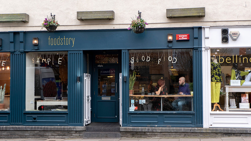 Exterior of Foodstory Cafe in Aberdeen Scotland