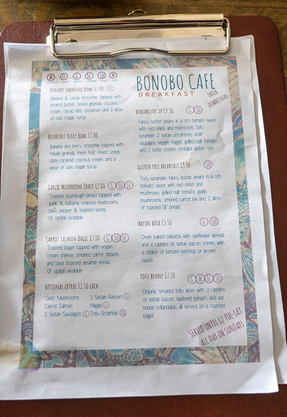 Breakfast menu of Bonobo Cafe in Aberdeen Scotland - Vegan Aberdeen