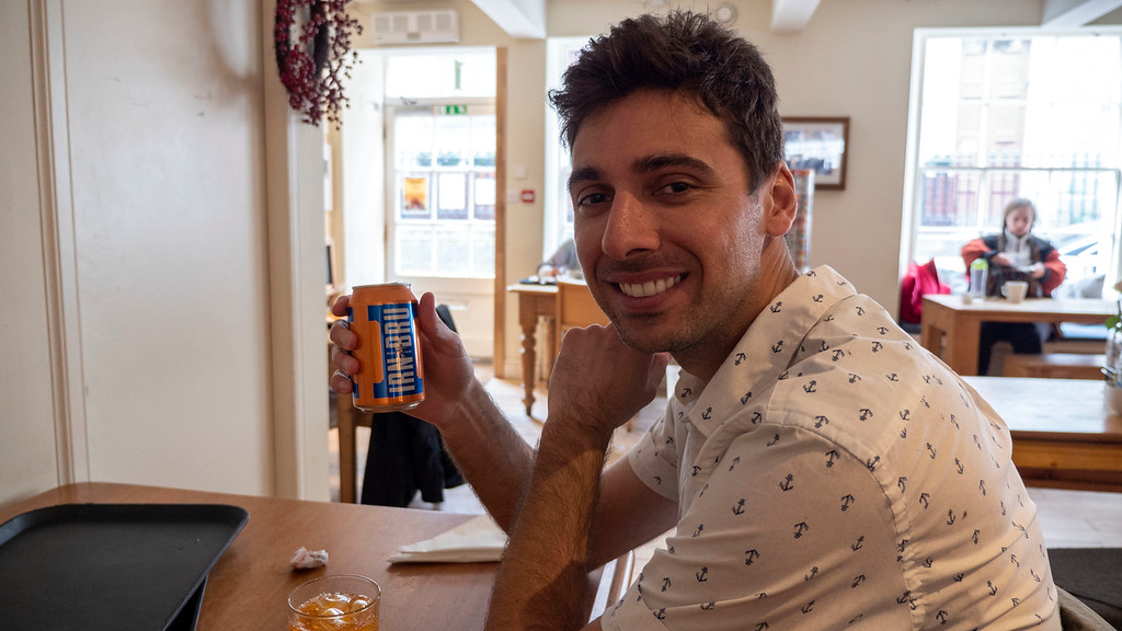 Justin trying Irn Bru at The Coffee House Aberdeen