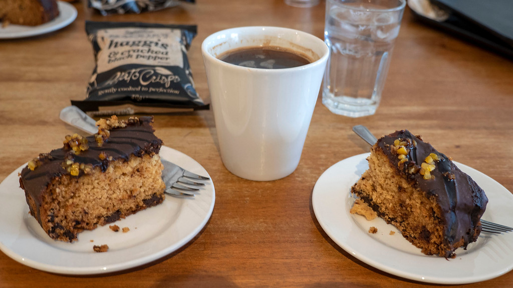Vegan cake and coffee from The Coffee Shop Aberdeen - Aberdeen vegan guide