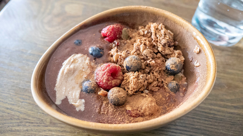 Cocoa smoothie bowl - Vegan breakfast in Aberdeen Scotland at Bonobo Cafe