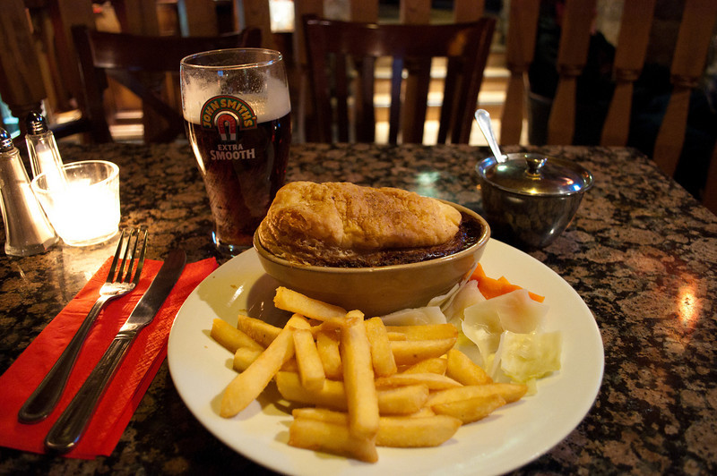 "January 5 - Scottish beef & ale pie with ""chips"" and a John Smith's."