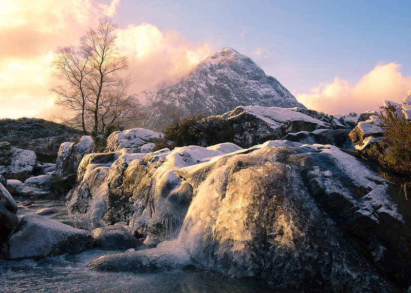Frozen Waterfall on River Coupall Overlooking Buachaille Etive Mor