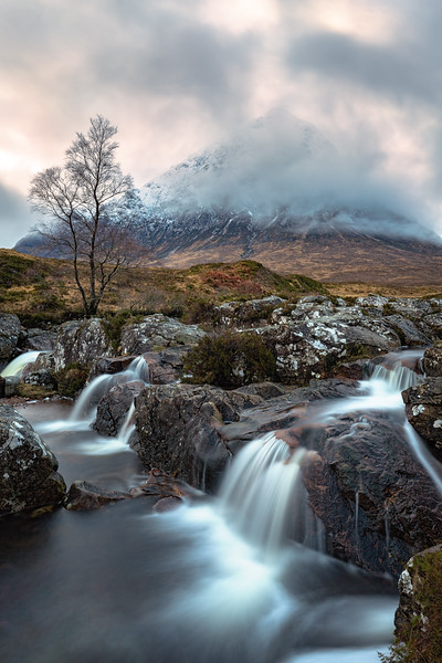 Waterfall on River Coupall Overlooking Buachaille Etive Mor